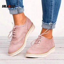 Women Oxfords Cut-Outs Lace Up Brogue Shoes Flat Platform  England Ladies Non-slip Breathable Casual Female Low Footwear