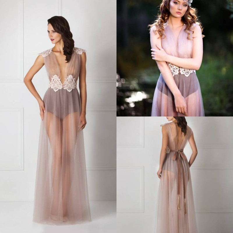 Sexy Transparent Night Robes Sleeveless Lace Belt V Neck Women Sleepwear Nightgown Robes Cheap