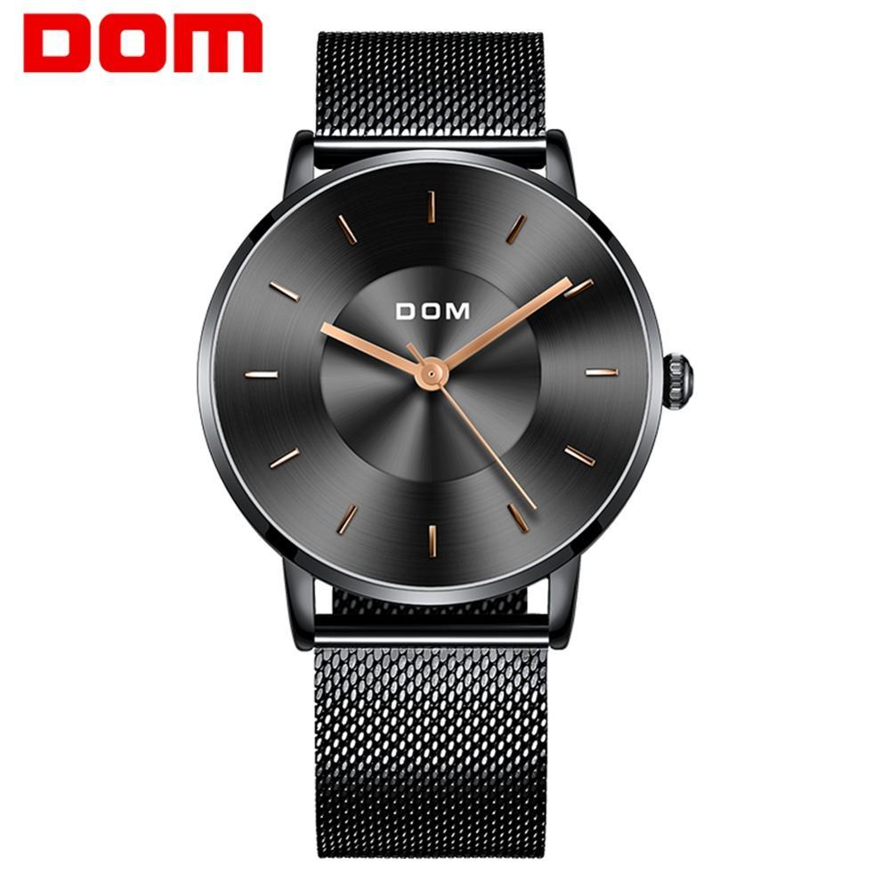 Watch men DOM Top Brand Luxury Quartz watch Casual quartz-watch steel Mesh strap clock male RelogM-1289BK-1M