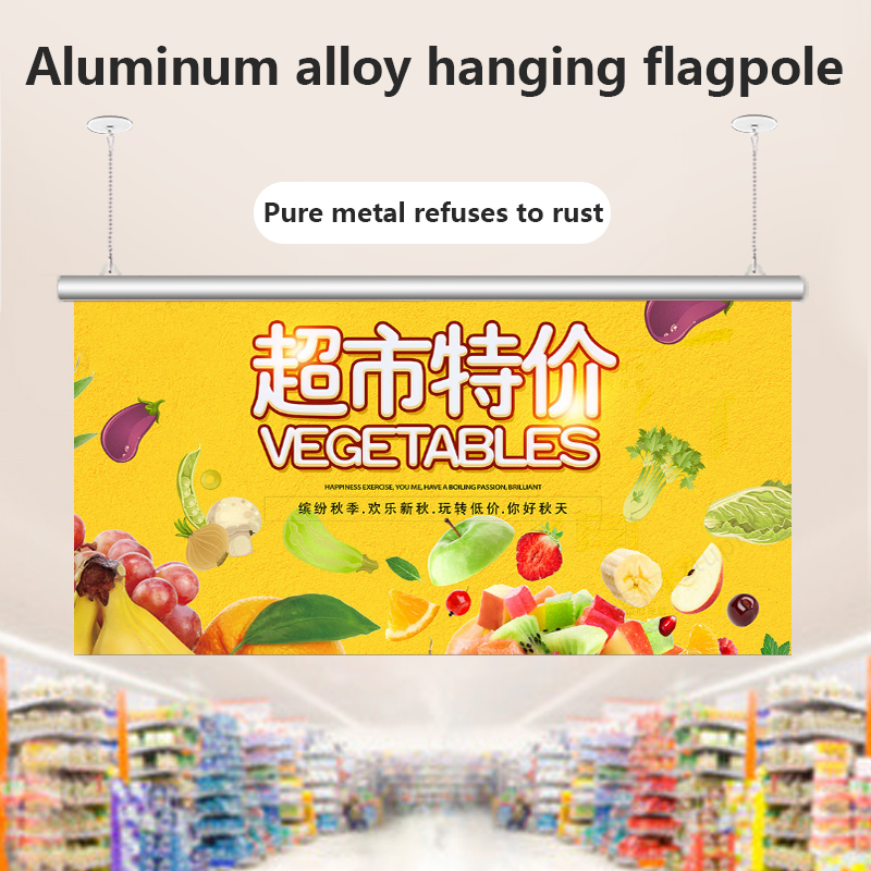 Hanging Flag Poster Pole Three-Piece Hook 60cm Advertising Clip Hook Chain Shopping Mall Bar Opening Decoration Customization