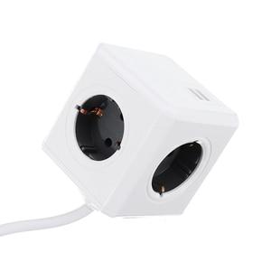 Image 3 - PowerCube toma de corriente inteligente Enchufe europeo, tira de potencia inteligente, adaptador extendido de viaje, 2 puertos USB 5V 2.1A, 4 salidas, Cable de 150/300CM