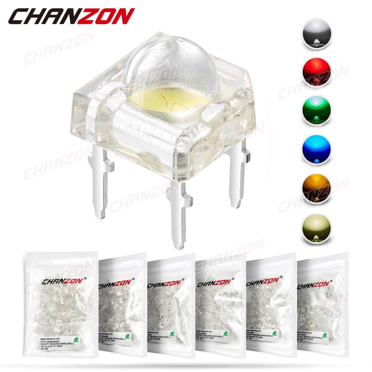 100 шт. 5 мм светодиодный светильник Piranha светодиод лампа теплый белый красный зеленый синий желтый яркий цвет 3 В индикатор DIY DIP PCB схема