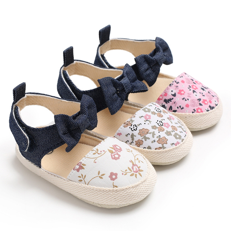 Newborn Baby Girl Shoes Sandal Princess White Bowknot Flower Crib Canvas Shoes Anti-slip Soft Sole Plimsolls Shoes Moccasins