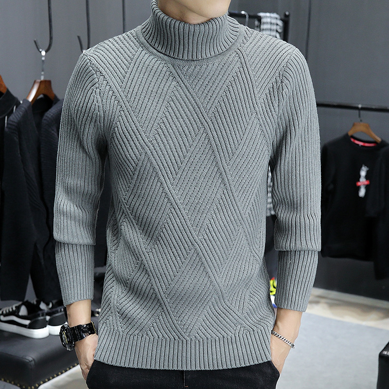Autumn And Winter Men's Korean High Neck Sweater Thickened Warm Knit