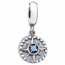 New 925 Sterling Silver Bead Charm Silver Enamel Compass Rose With Blue Crystal Pendant Beads Fit Bracelet Diy Jewelry