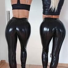 Высокая Талия клуб Для женщин однотонные тренировки Леггинсы для фитнеса, облегающие сексуальные узкие брюки стретч спортивные кожаные штаны спортивные штаны