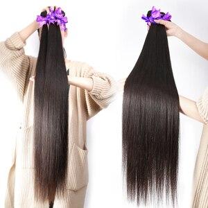 Image 2 - Rosabeauty прямые 28 30 40 дюймов 3 4 пряди с фронтальным кружевом дешевые Remy бразильские 100% человеческие волосы плетение и закрытие