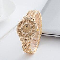 geneva watch Women Fashion Luxury Brand Wristwatches Relogio Feminino Ladies Gold Steel Quartz Watches Casual Crystal Rhinestone