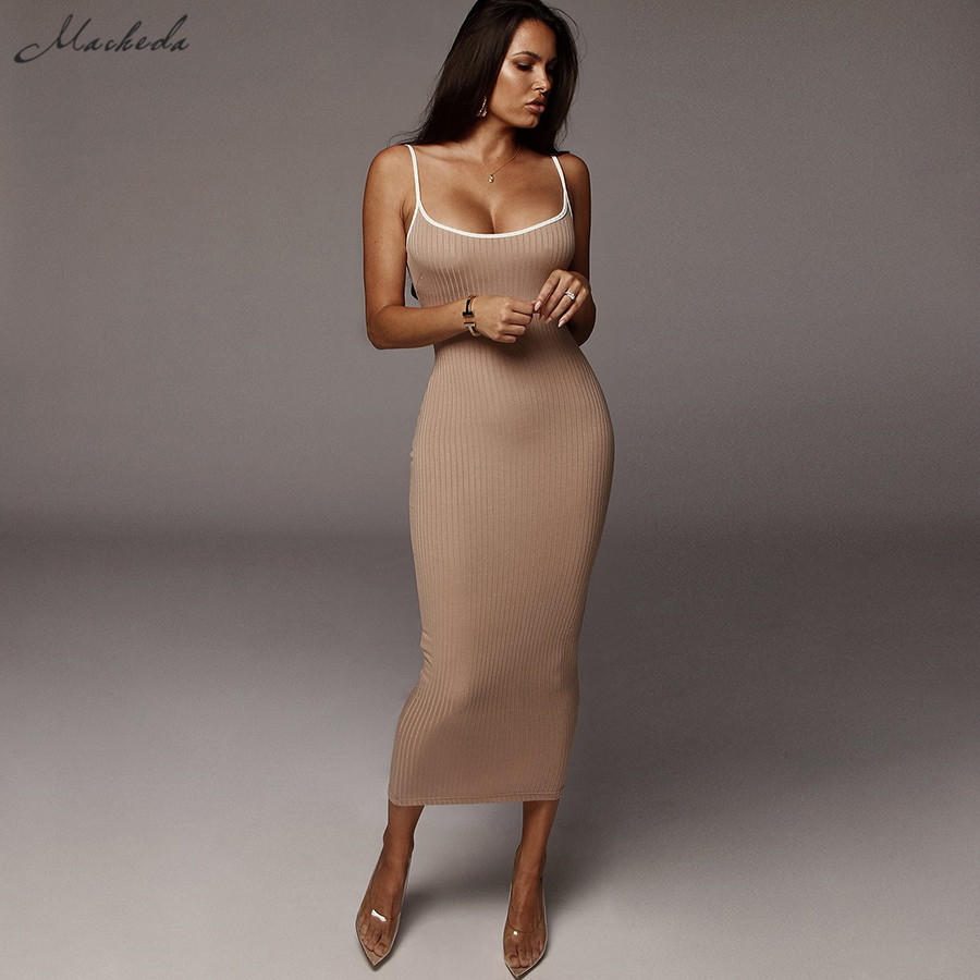 Macheda Women Sexy Silod Spaghetti Strap Dress Casual Knitted Stretchy Lady Slim Long Dresses Solid Color Outfits 2019 New