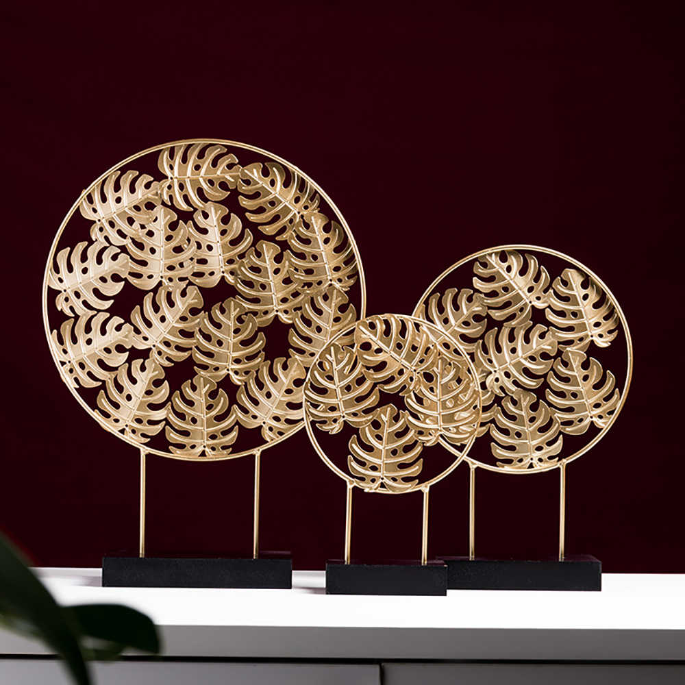 Nordic Metal Turtle Leaf Ornaments Party Wedding Home Decor Iron Art Accessories