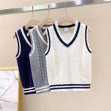 New Style Kids Boys Pullover Knitted Vest Coat Fashion Baby Crochet Waistcoat Sleeveless V Neck Children Sweaters