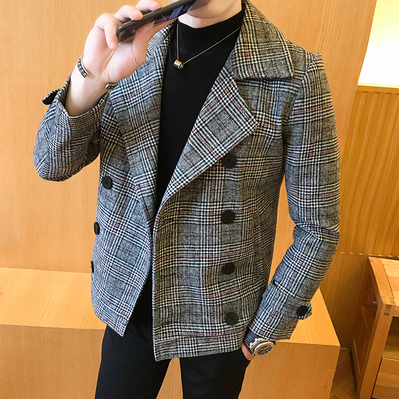 2019 Autumn Winter New Double-Breasted Windbreaker Slim Short Men Woolen Coat Fashion Retro Plaid Thick Casual Windbreaker Coat