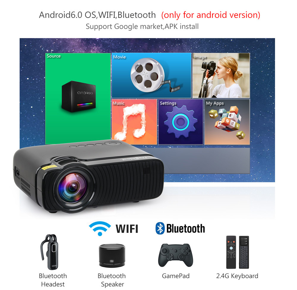 Image 2 - ThundeaL Native 720P Mini Projector Bluetooth Android 6.0 WiFi Beamer TD30 Max LED HD Video HDMI VGA Movie WiFi 3D Proyector
