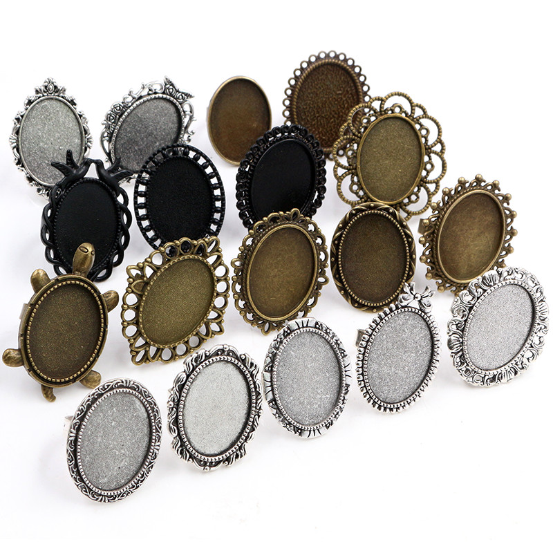 18x25mm 5pcs Antique Silver Bronze Plated Mixed Styles Oval Adjustable Ring Settings Blank/Base,Fit Oval 18*25mm Glass Cabochons