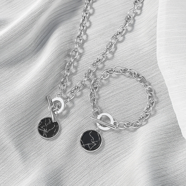 marble and chain necklace or bracelet 1