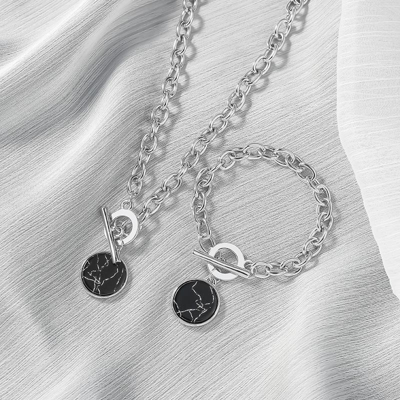 KMVEXO Minimalist Casual Neck Chain Necklaces for Women Round Marble Pendants Hiphop Female Fashion Jewelry Necklace Naszyjnik