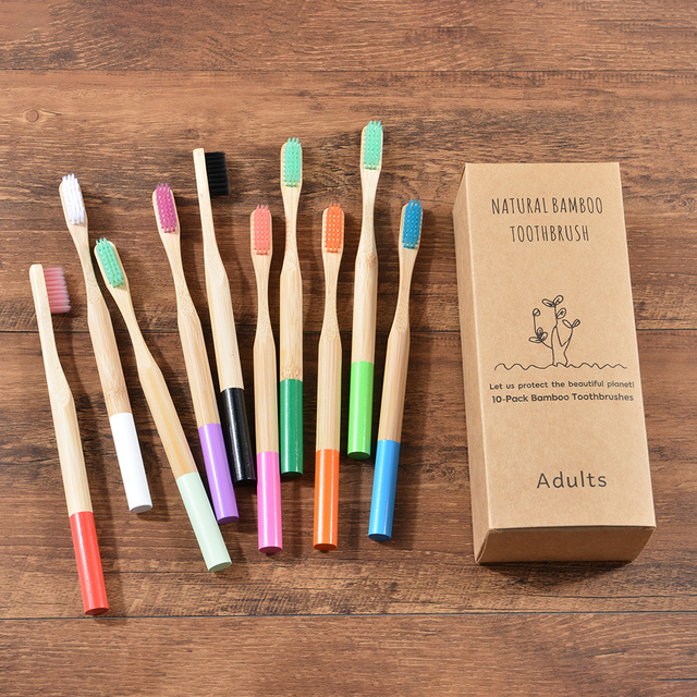 10-Pack Eco Friendly Bamboo Toothbrush Soft Bristles Biodegradable Plastic-Free Toothbrushes Cylindrical Low Carbon Bamboo Brush 2