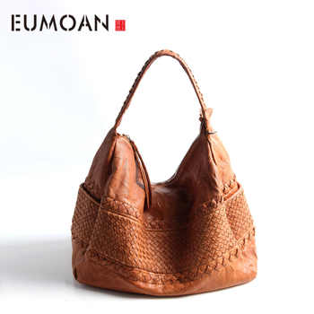 EUMOAN Pure leather Europe and the United States Japan South Korea fashion handmade retro weaving single shoulder - DISCOUNT ITEM  50% OFF All Category