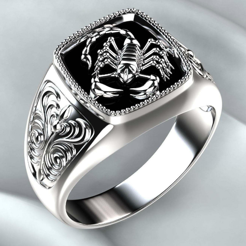 Ring-Scorpion-Memorial Ring Jewelry Day-Ring Punk-Style 925-Silver Vintage Men's Embossed