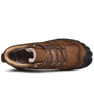 Image 3 - プラスサイズ天然皮革男性ブーツ手作り暖かい豪華な毛皮の男性の冬の靴品質足首の雪のブーツアウトドアシューズ男性