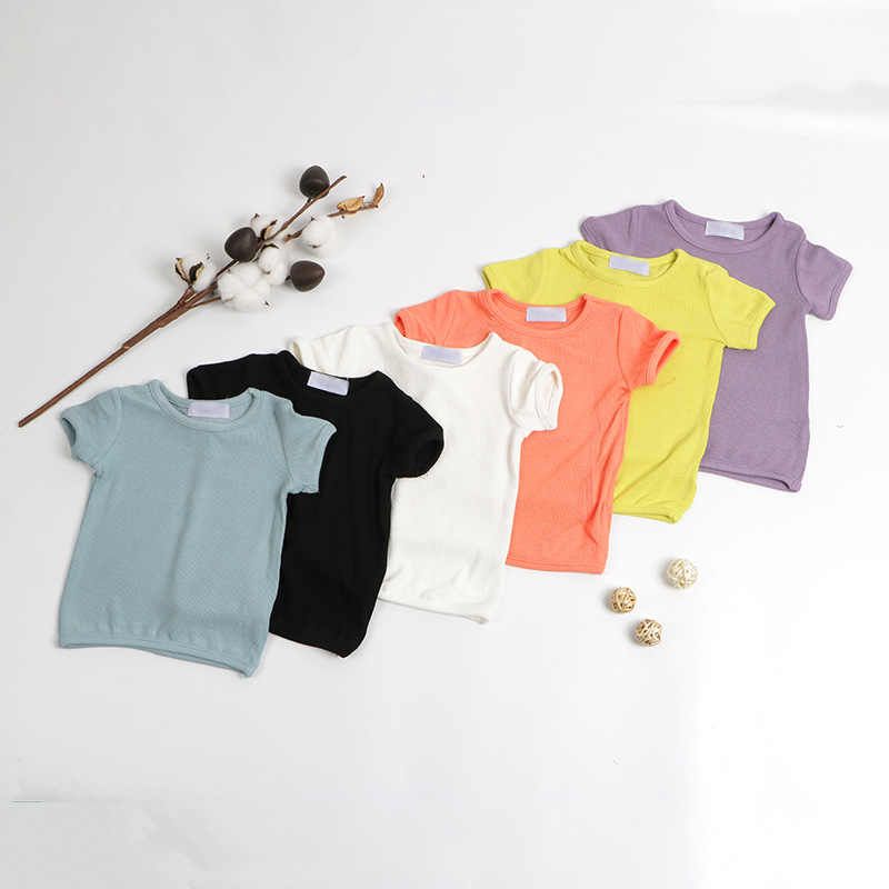 2020 New Baby Kids T Shirt Casual Cotton Short Sleeve T-shirts For Boys Girls Solid Ribbed Top Tees Fashion Children's Clothing