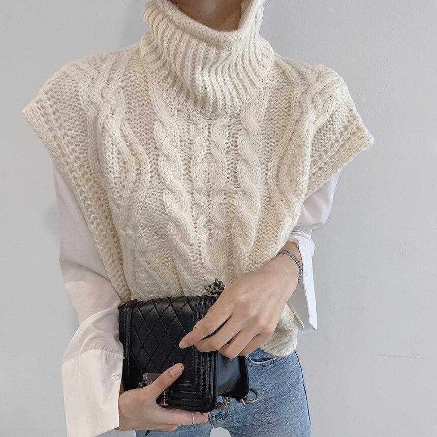 Streetwear Knitted Sweater Women Turtleneck Warm Women Vest Sweater Female Knitted Jumpers Sleeveless Pullover 2019
