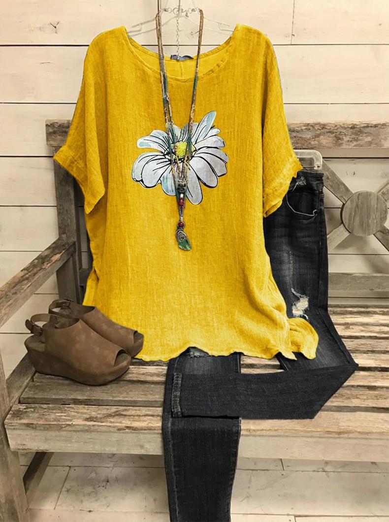 Cotton Women Shirt Harajuku Leisure O Neck Tops Women Vintage Flower Print Shirts New Loose Plus Size Blouses S-5XL Blusas Mujer 10