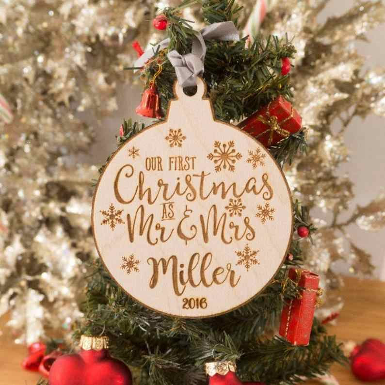 Personalized Christmas Ornament.Our First Christmas Ornament Married Personalized Christmas Ornaments Mr And Mrs Gifts Couple Wedding Gift Just Marrie