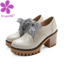 Girls Lolita Cosplay Mary Janes High Heels Shoes Ladies Sweet Princess Harajuku Ribbon Bowknot Dress Party Pumps Plus Size 34-43 doratasia 2018 large size 30 47 candy colors square heels mary janes women shoes woman pumps date girls pumps shoes