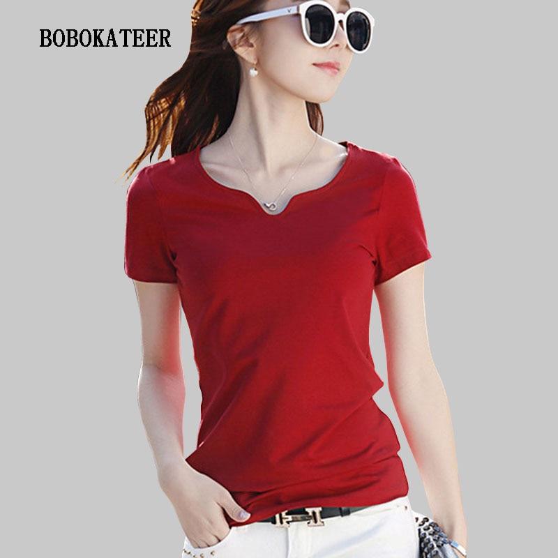 BOBOKATEER V-neck Tee Shirt Femme 2019 Short Sleeve Top Women Tops Cotton Plus Size Women Clothing Summer T Shirt Women T Shirt