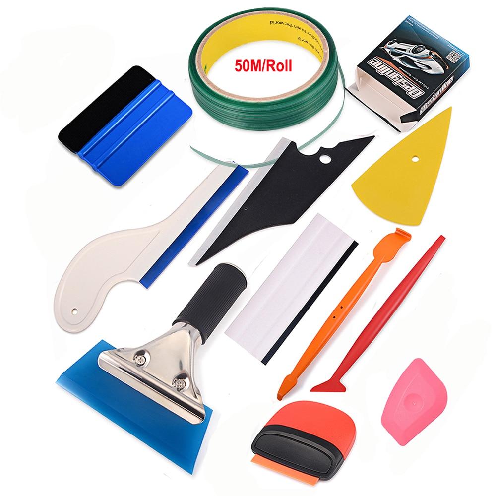 FOSHIO Carbon Fiber Film Magnet Micro Squeegee Kit 50m Knifeless Tape Sticker Design Line Vinyl Car Wrap Window Tint Tool Set