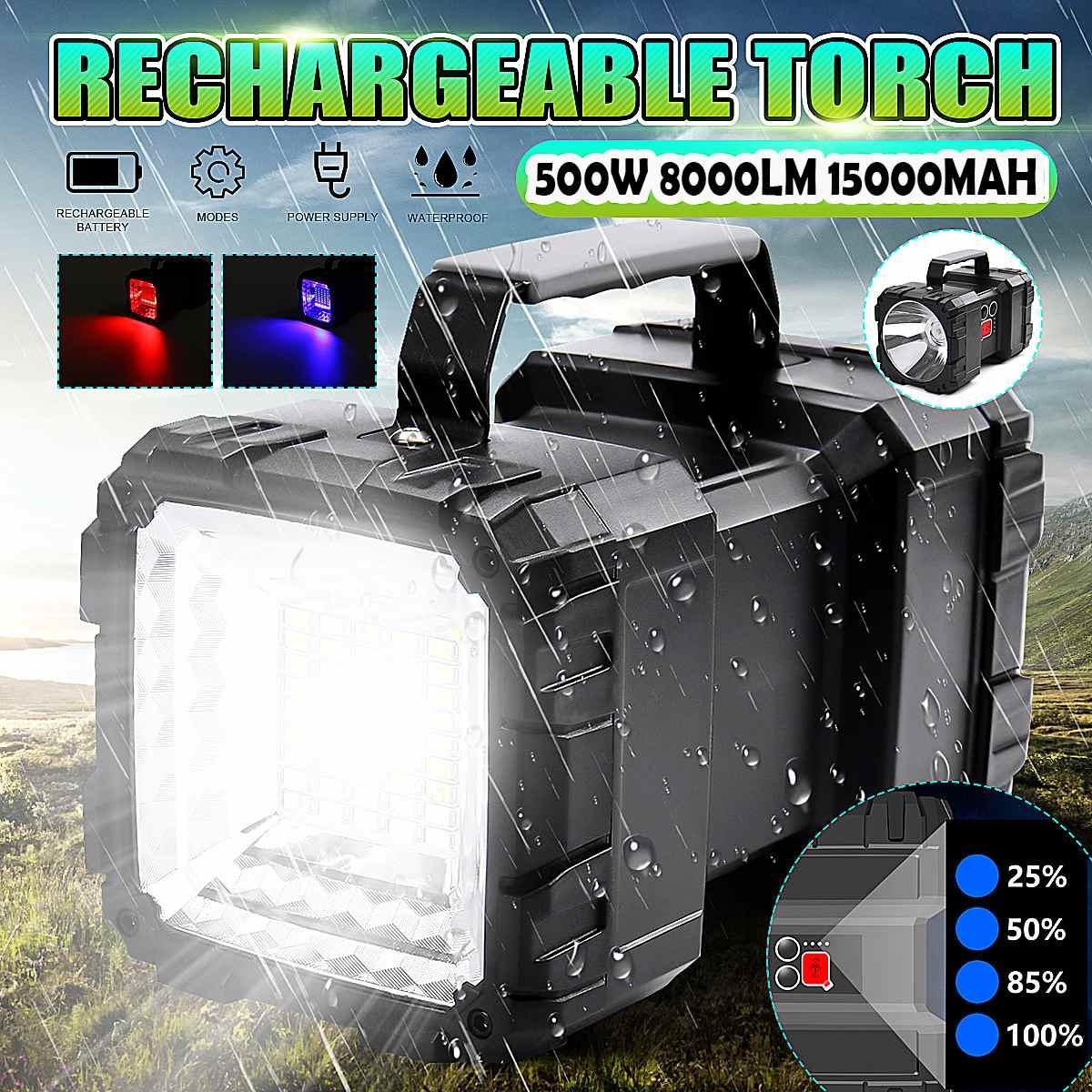 8000LM USB Charging LED Work Light Torch 15000mAh Battery Spotlight Hand Lamp Camping Lantern Searchlight For Fishing Hunting