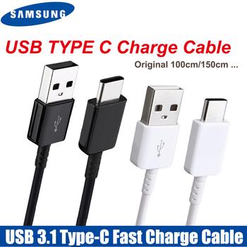 Oryginalny kabel Samsung typu C 0 28 1 2 1 5M szybka ładowarka linii danych do samsung Galaxy S8 S9 Plus S10 uwaga 8 9 10 A3 A5 A7 2017 tanie i dobre opinie TYPE-C USB A Złącze ze stopu