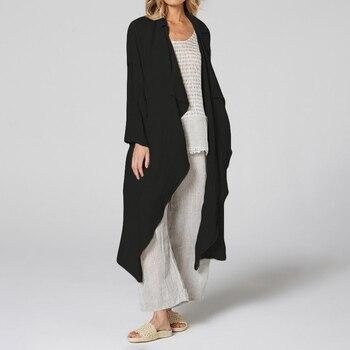 Vintage Women Kimono 5XL Celmia  Casual Long Sleeve Blouses Female Loose Beach Long Cardigan Solid Autumn Shirts Plus Size Tops 9