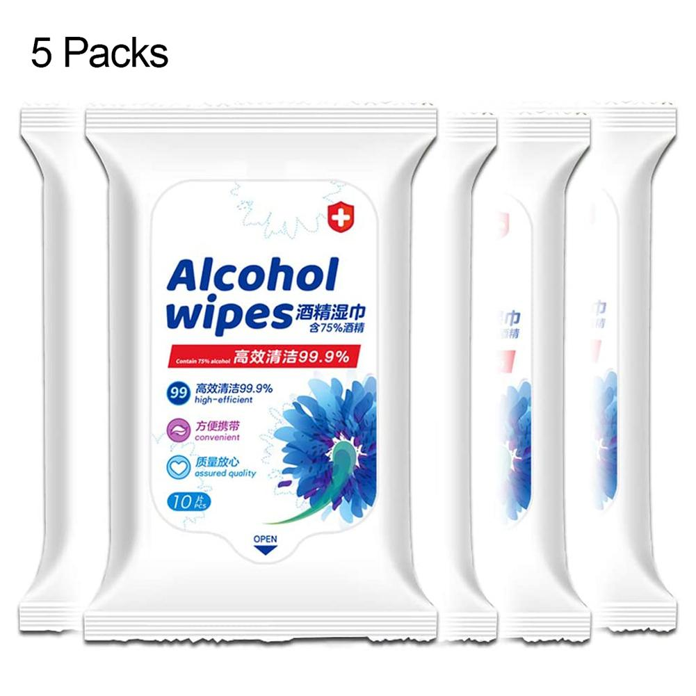 1 Packs Sterilization Disinfection Alcohol Wet Wipes Pads Paper Tissue Hot  Portable 75% Alcohol Wet Wipes Antisept