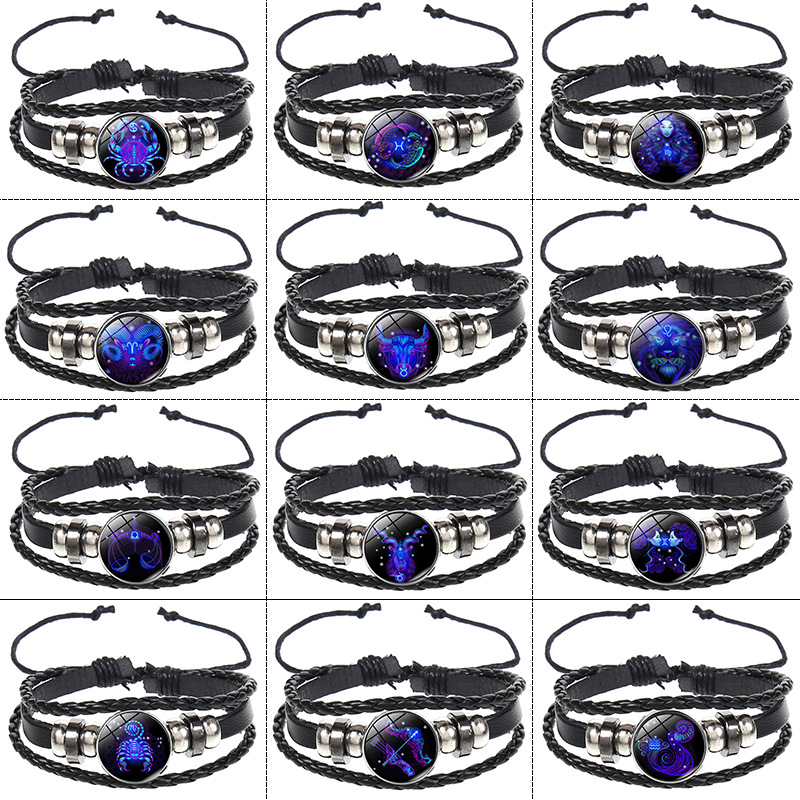 Explosive Model Couple Lucky Bracelet 12 Constellation Multilayer Woven Night Light Punk Stars Sky Bracelet Jewelry in Wrap Bracelets from Jewelry Accessories