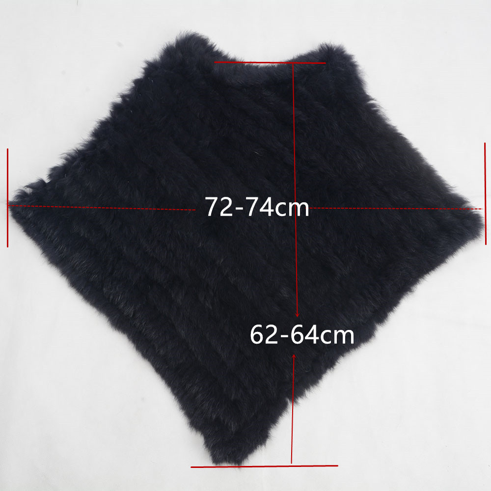 Women s Knitted Poncho Real Rabbit Fur Fashion Style Winter Autumn Warm Fur Shawl Ladies Top