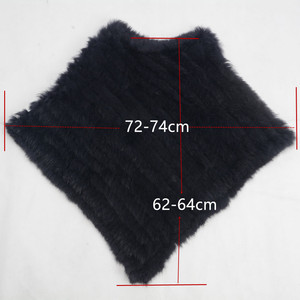 Image 2 - Womens Knitted Poncho Real Rabbit Fur Fashion Style Winter Autumn Warm Fur Shawl Ladies Top Quality Cape S1071S