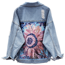 Sequin Floral Appliques Ripped Single Breasted Embroidery Coat Women Denim