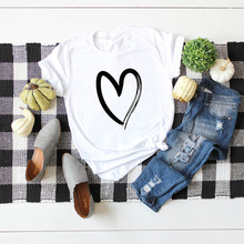 100% Cotton Women Tshirt Heart Print T Shirt Female Tee Tops Short Sleeve Summer T-Shirt Tops Woman Shirts Casual Women T-shirts wotwoy casual cotton t shirt women short sleeve summer tops women embossing letter print tee shirt female loose t shirts women