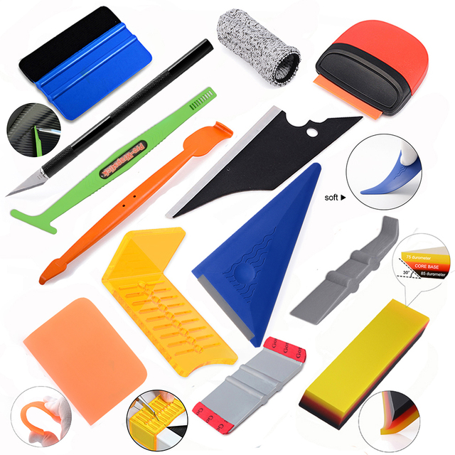 Car Accessories Goods Vinyl Wrap Tool Set Kit Magnet Squeegee PPF Scraper Carbon Fiber Film Wrapping Knife Window Tinting 1