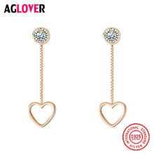2019 Genuine 925 Sterling Silver Earrings Glamour Woman Pendant Heart Earrings Fashion Wedding Jewelry Gifts Christmas Gifts