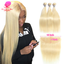 QUEEN BEAUTY 613 Blonde Weave Remy Brazilian Straight Human Hair 3/4 Bundles with 13x4 Free/Middle Lace Frontal Closure Pieces