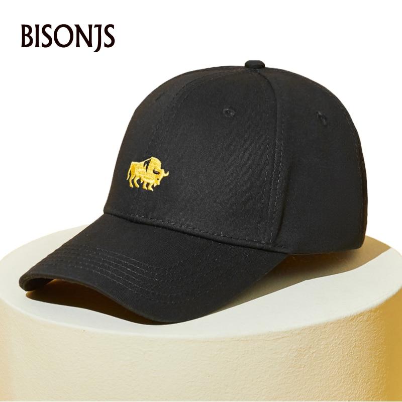 BISONJS 2020 Новая мода корова вышивка хлопок Мужская бейсболка женская летняя винтажная шляпа от солнца Регулируемые дышащие бейсболки