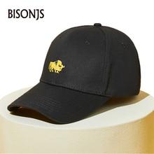 BISONJS 2020 New Fashion Cow Embroidery Cotton Men Baseball Cap Women Summer Vintage Sun Hat Adjustable Breathable Snapback Caps