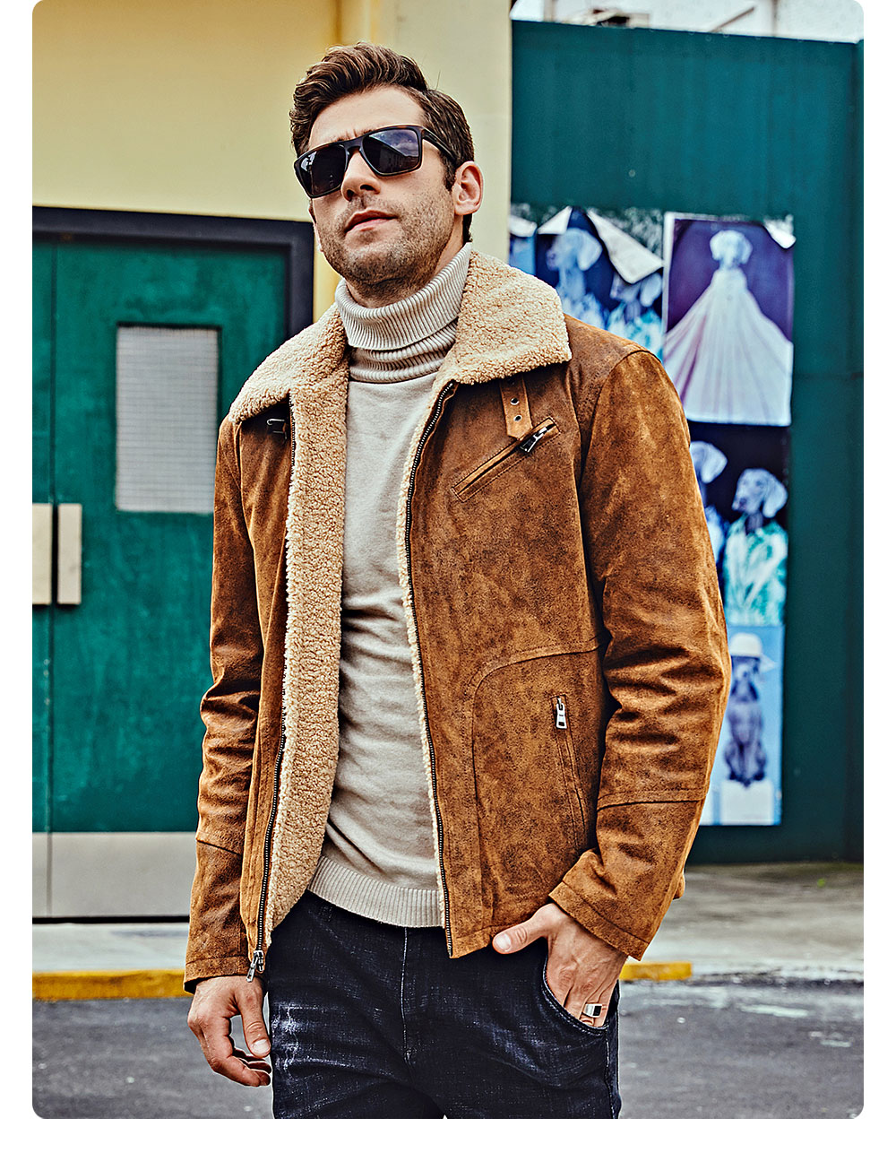 Hc27adf0bbbf74e378ebf78c0af1072daP FLAVOR New Men's Genuine Leather Motorcycle Jacket Pigskin with Faux Shearling Real Leather Jacket Bomber Coat Men