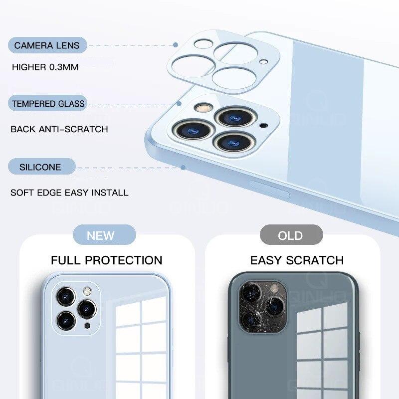 Custodia per telefono quadrata in vetro temperato per iPhone 12 Mini 11 Pro Max SE 2 X XR XS Max 8 7 Plus 12 Pro custodia in Silicone liquido anti-bussola 2