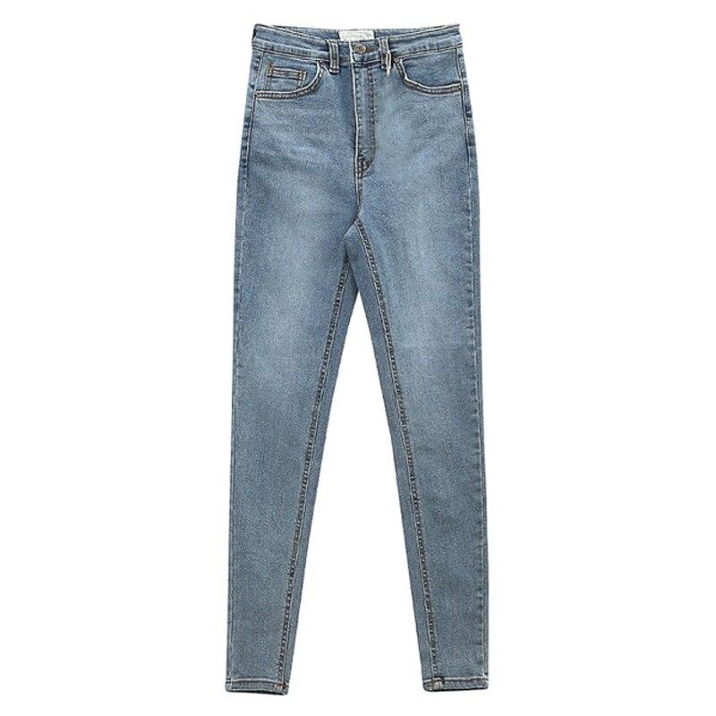 Women's Jeans High Waist Stretch Skinny Denim Pants 2020 Autumn Winter Blue Retro Washed Elastic Slim Pencil Trousers 3