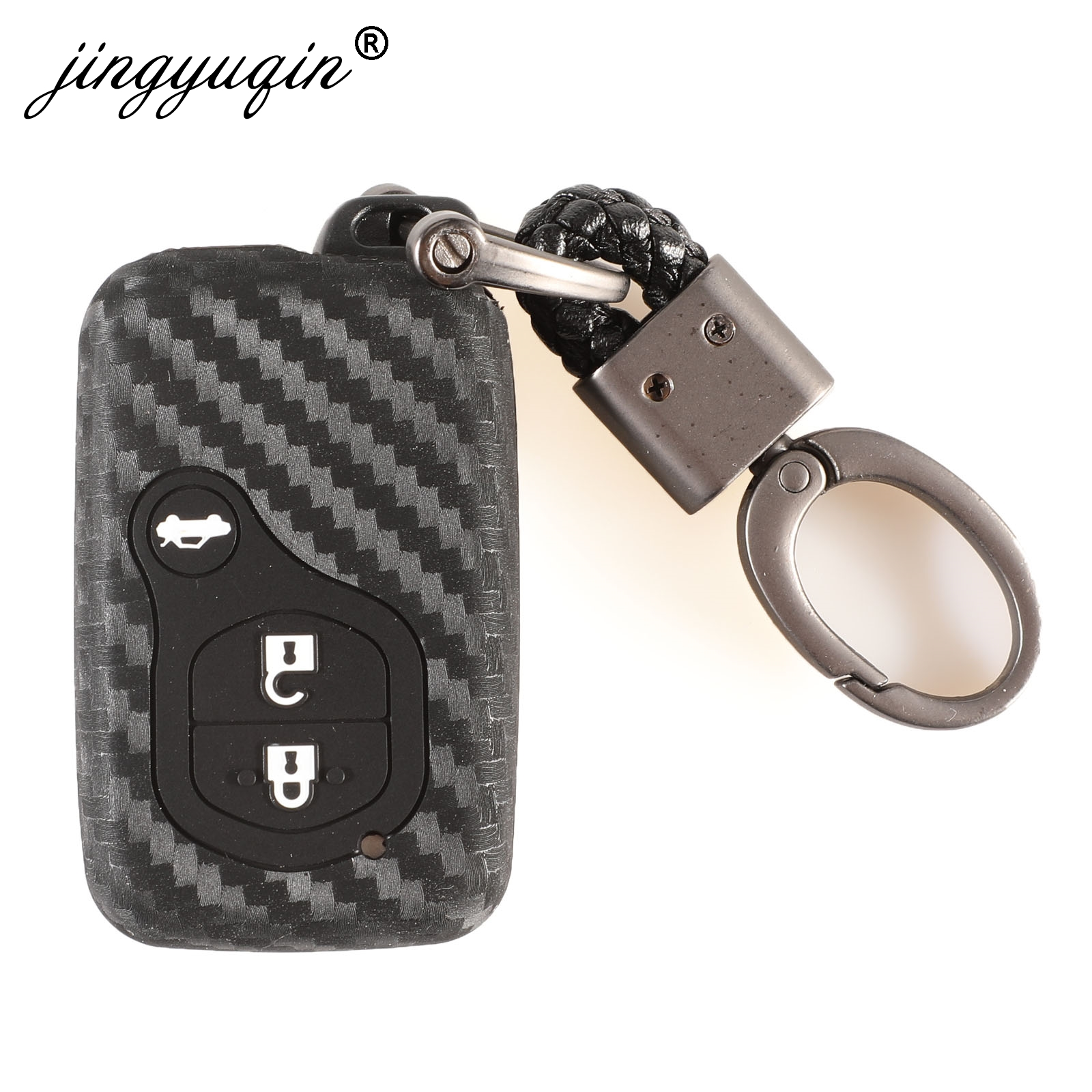 Rubber Carbon Car Key Case Cover For Toyota Land Cruiser Prado 150 Camry Prius Crown Subaru Foreste XV Keychain Silicone Holder