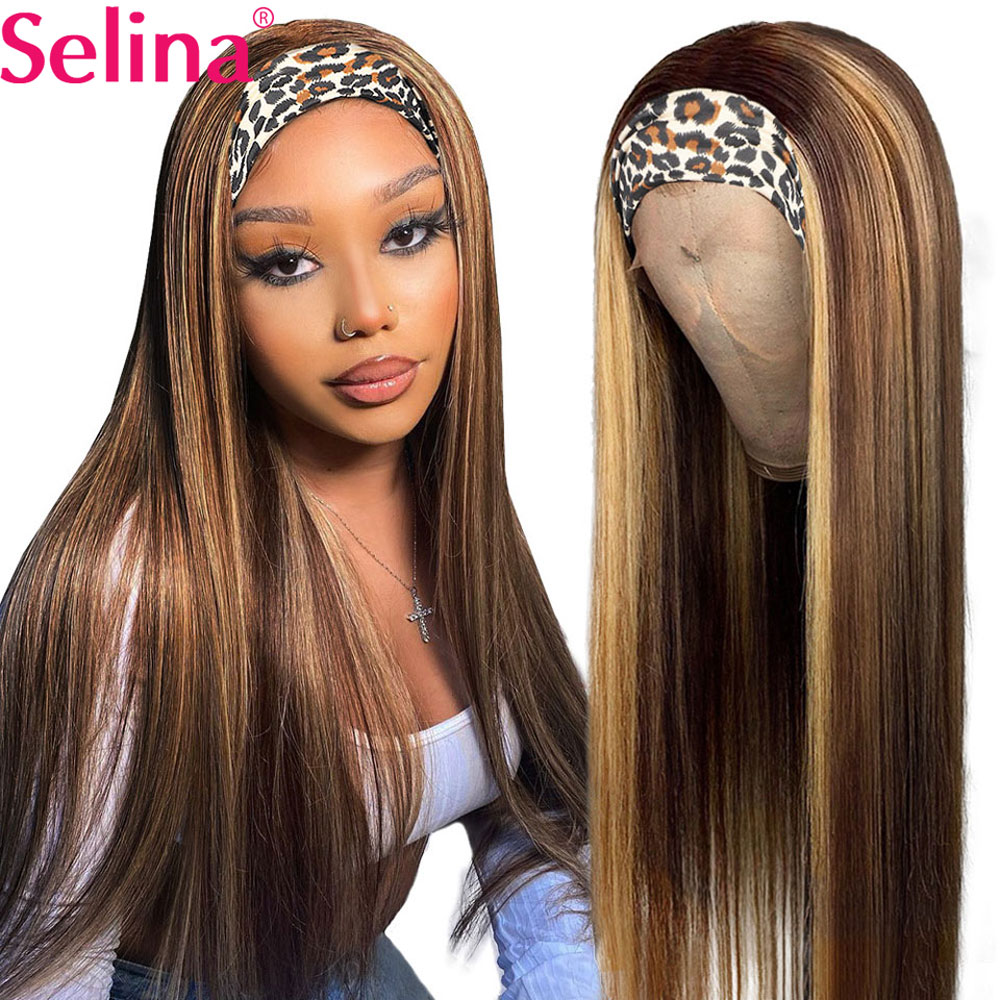 Synthetic Headband Wig Highlight Wig P27 33 Mixed Ombre Honey Blonde Straight Wigs Daily Party Cosplay